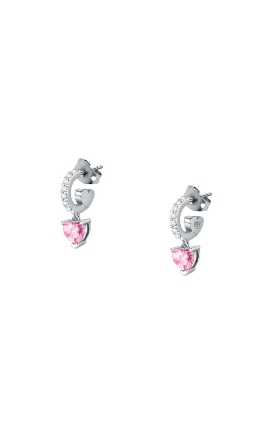 CHIARA FERRAGNI J19AUV23 Ασημένια Σκουλαρίκια Με Ροζ Καρδιές