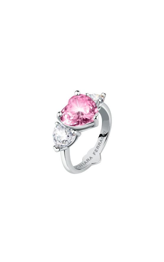 CHIARA FERRAGNI J19AUV33018 Ασημένιο Δαχτυλίδι Με Ροζ Καρδιά