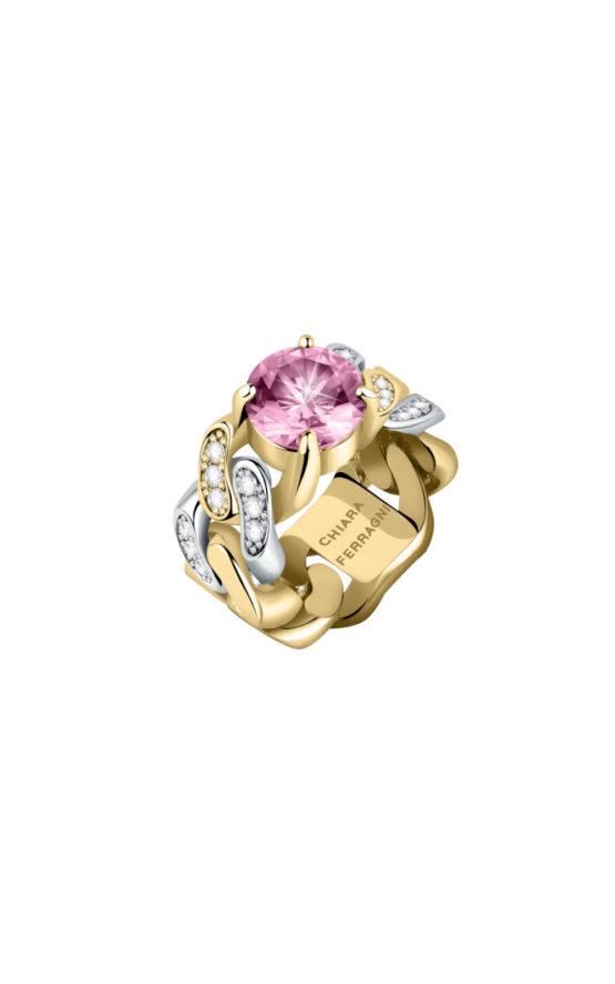 CHIARA FERRAGNI J19AUW28014 Χρυσό Δαχτυλίδι Με Ροζ Πέτρα