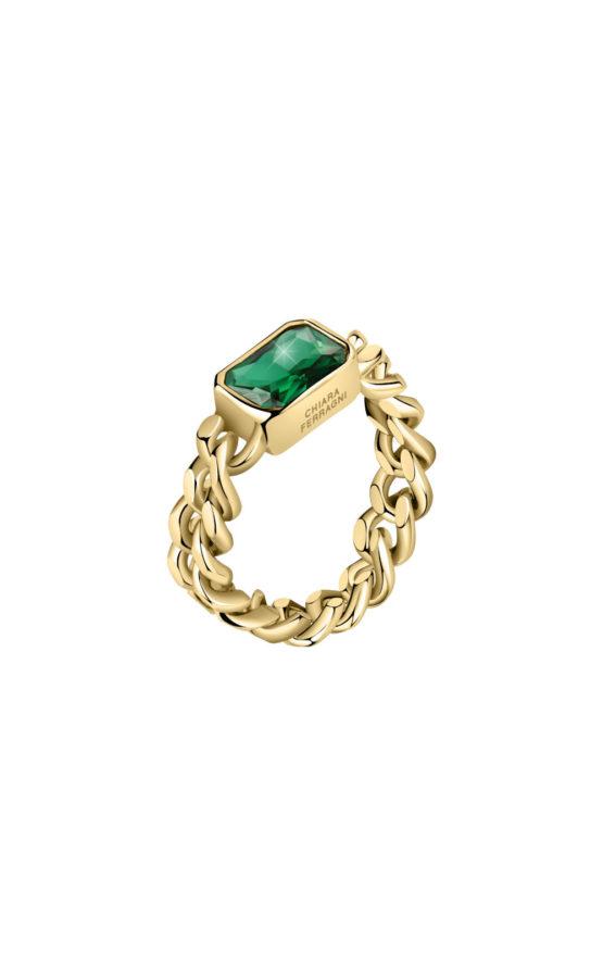CHIARA FERRAGNI J19AUW35012 Χρυσό Δαχτυλίδι Με Πράσινη Πέτρα