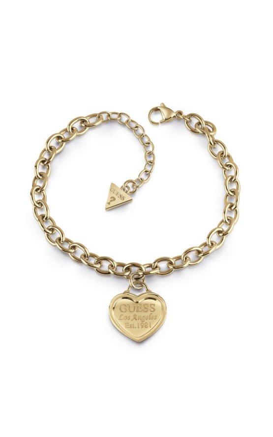 GUESS FAUX UBB28018-L Χρυσό Βραχιόλι Με Καρδιά