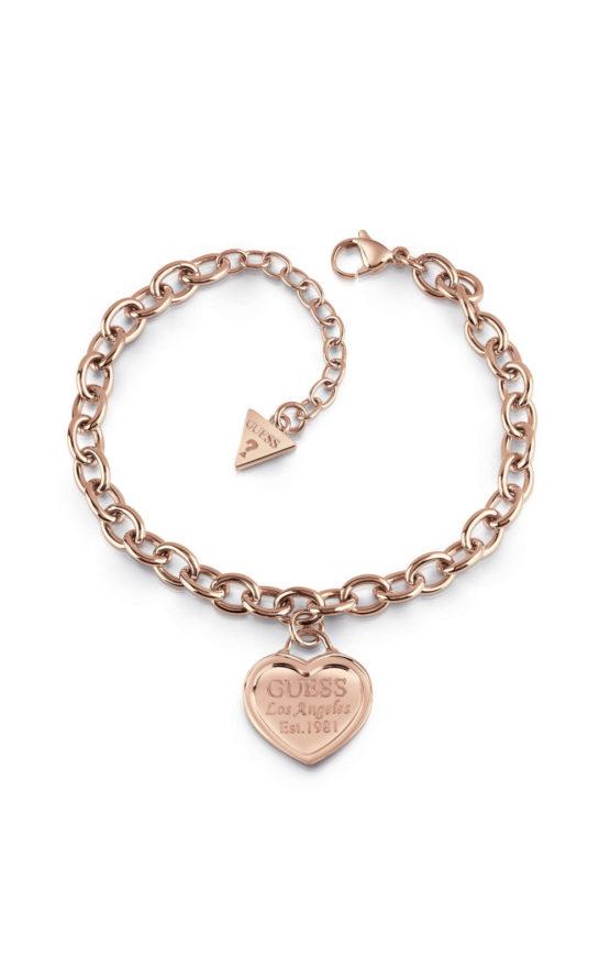 GUESS FAUX UBB28019-L Ροζ Χρυσό Βραχιόλι Με Καρδιά