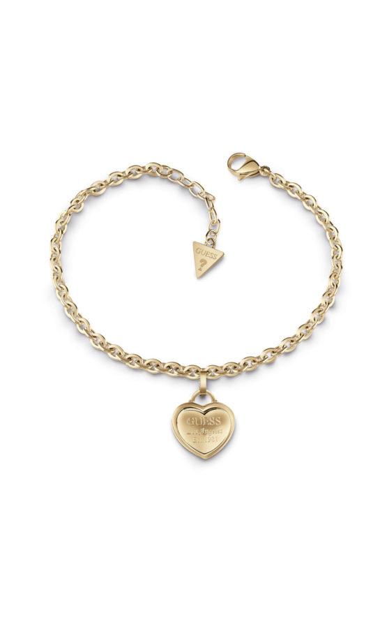 GUESS FAUX UBB28025-L Χρυσό Βραχιόλι Με Καρδιά