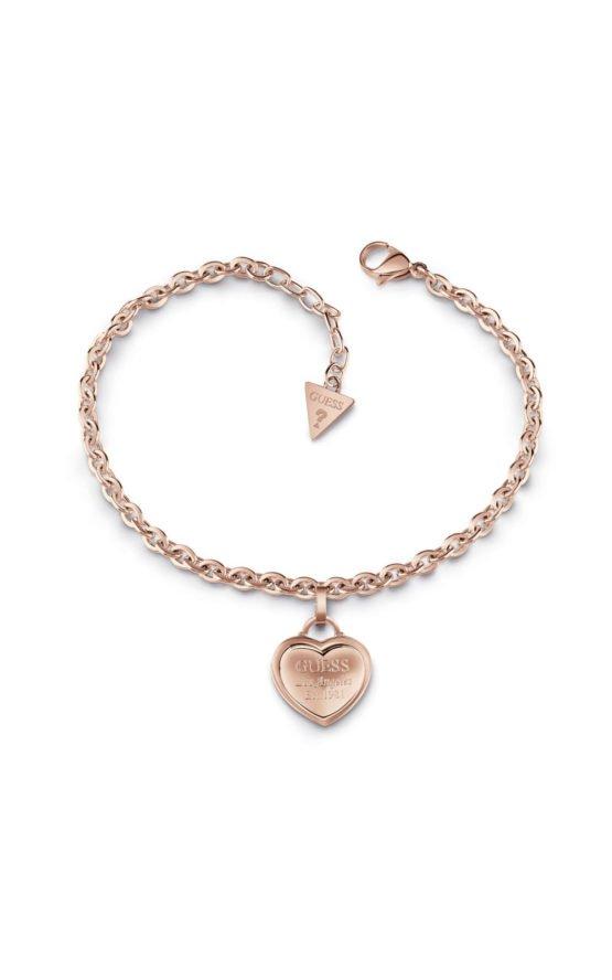 GUESS FAUX UBB28026-L Ροζ Χρυσό Βραχιόλι Με Καρδιά