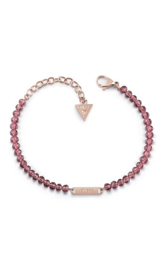 GUESS FAUX UBB28044-L Ροζ Χρυσό Βραχιόλι Με Ροζ Χάντρες