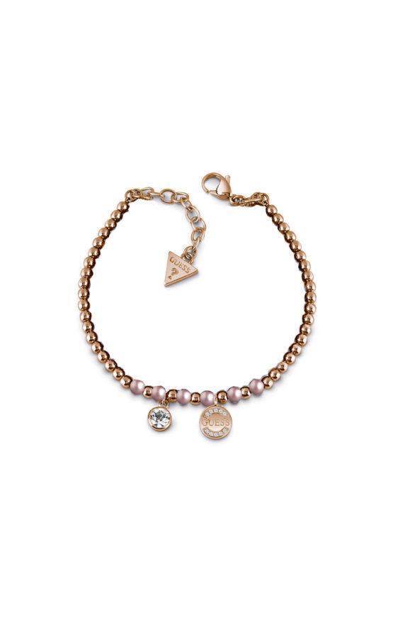 GUESS FAUX UBB28051-L Ροζ Χρυσό Βραχιόλι Με Ροζ Χάντρες