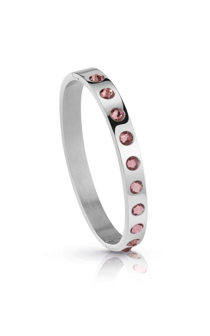 GUESS FAUX UBB28124-L Ασημένιο Βραχιόλι Με Ροζ Πέτρες