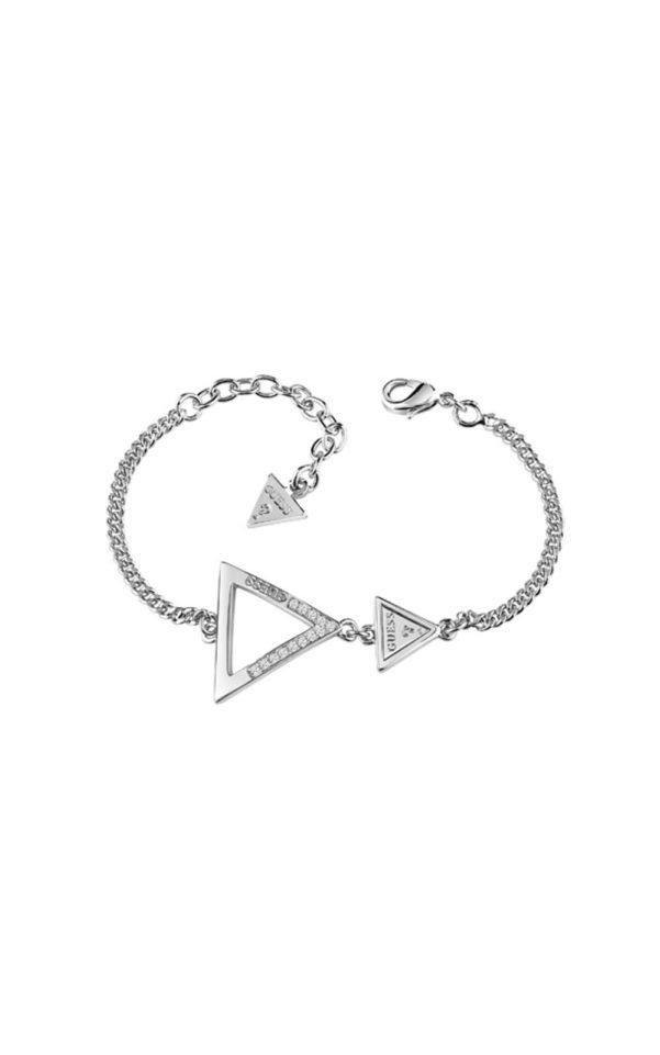 GUESS FAUX UBB83063-L Ασημένιο Βραχιόλι Με Δύο Τρίγωνα