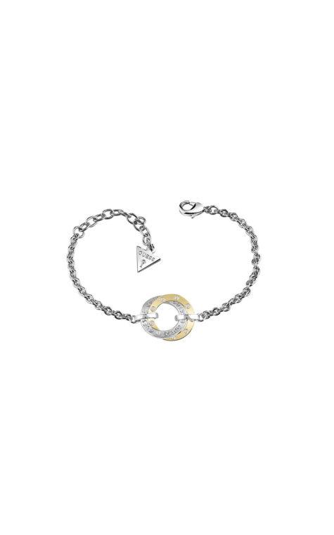 GUESS FAUX UBB83067-L Ασημένιο Βραχιόλι Με Δίχρωμους Κύκλους