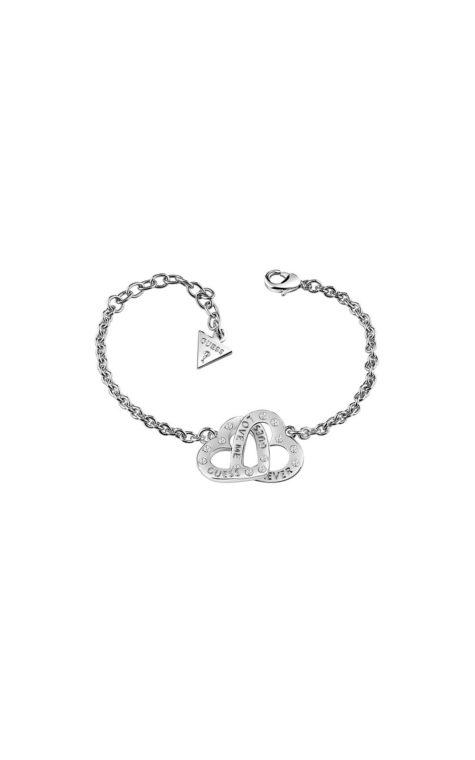 GUESS FAUX UBB83069-L Ασημένιο Βραχιόλι Με Δύο Καρδίες