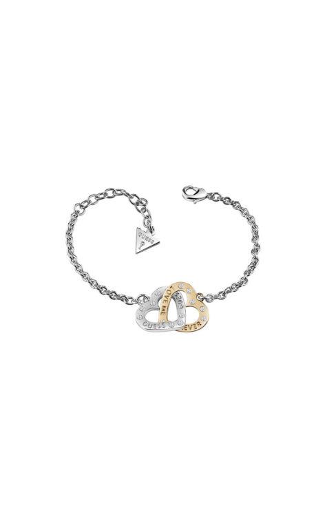 GUESS FAUX UBB83070-L Ασημένιο Βραχιόλι Με Δίχρωμες Καρδίες