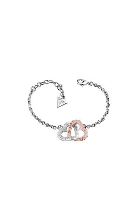 GUESS FAUX UBB83071-L Ασημένιο Βραχιόλι Με Δίχρωμες Καρδίες
