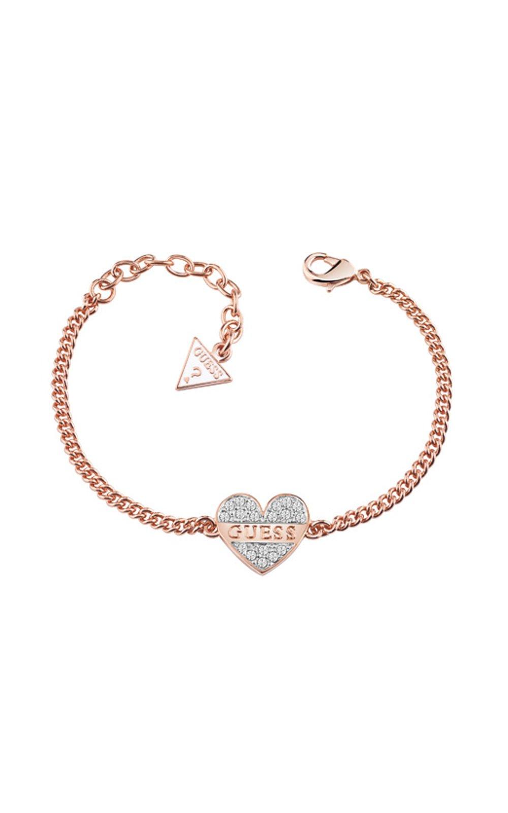 206a0485b16 GUESS FAUX UBB83086-L Ροζ Χρυσό Βραχιόλι Με Καρδιά