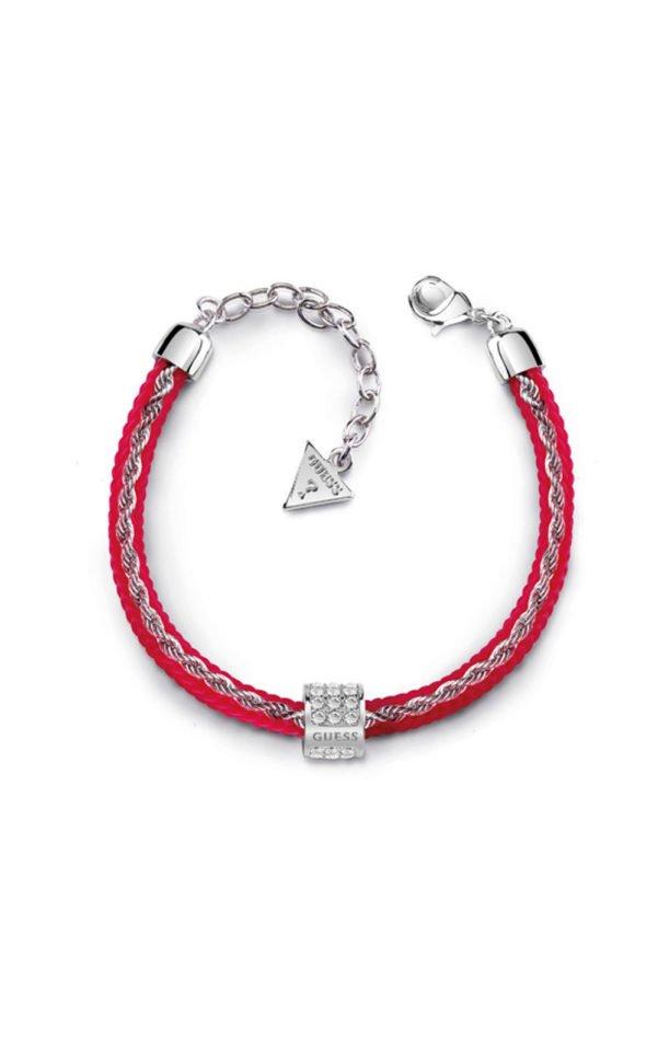 GUESS FAUX UBB84103-L Κόκκινο Βραχιόλι Με Χάντρα