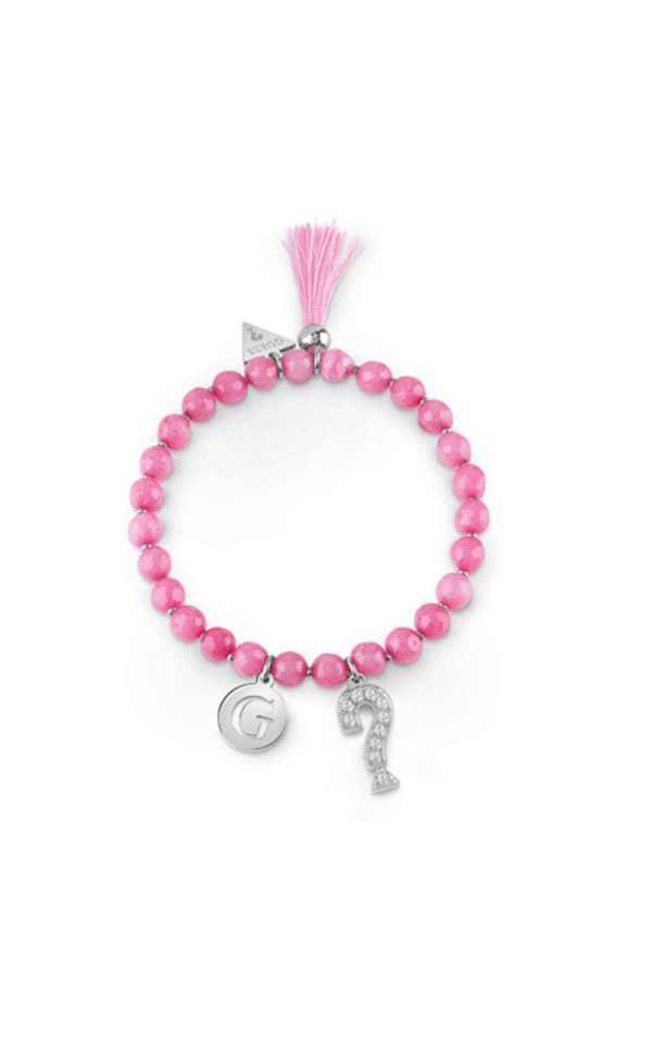 GUESS FAUX UBB85032-L Βραχιόλι Με Ροζ Χάντρες & Κρεμαστά