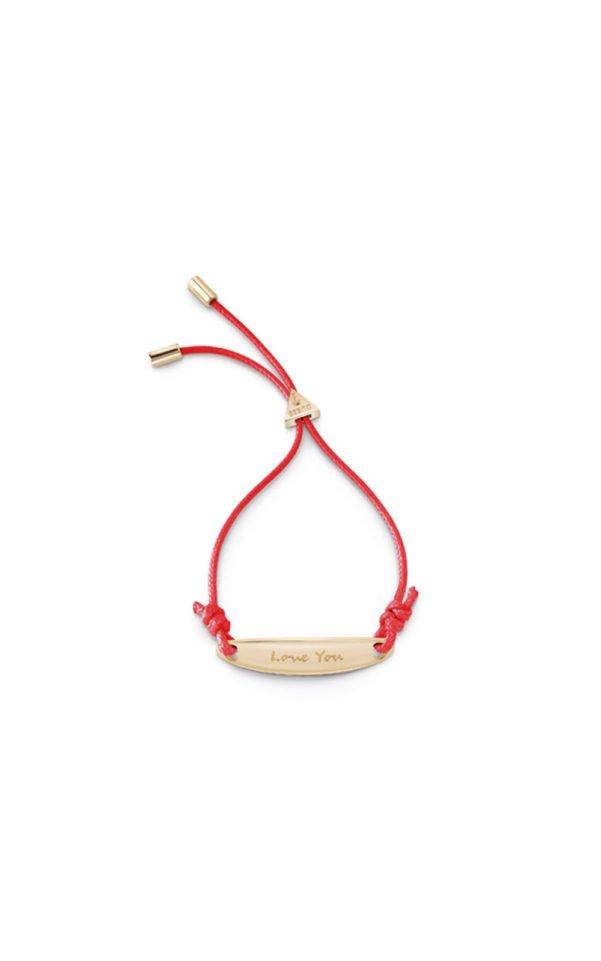 GUESS FAUX UBB85041-L Χρυσό Βραχιόλι Με Κόκκινο Κορδόνι