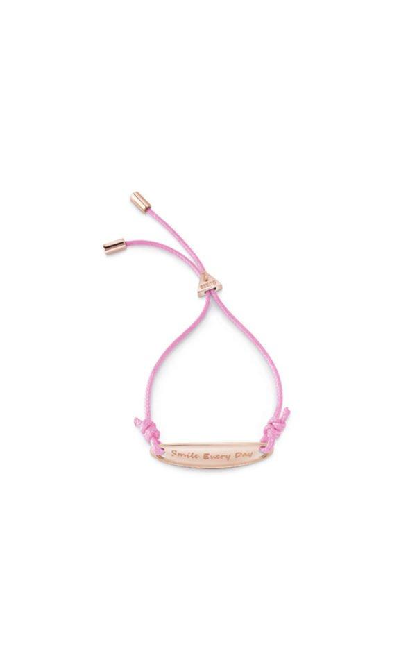 GUESS FAUX UBB85044-L Ροζ Χρυσό Βραχιόλι Με Ροζ Κορδόνι
