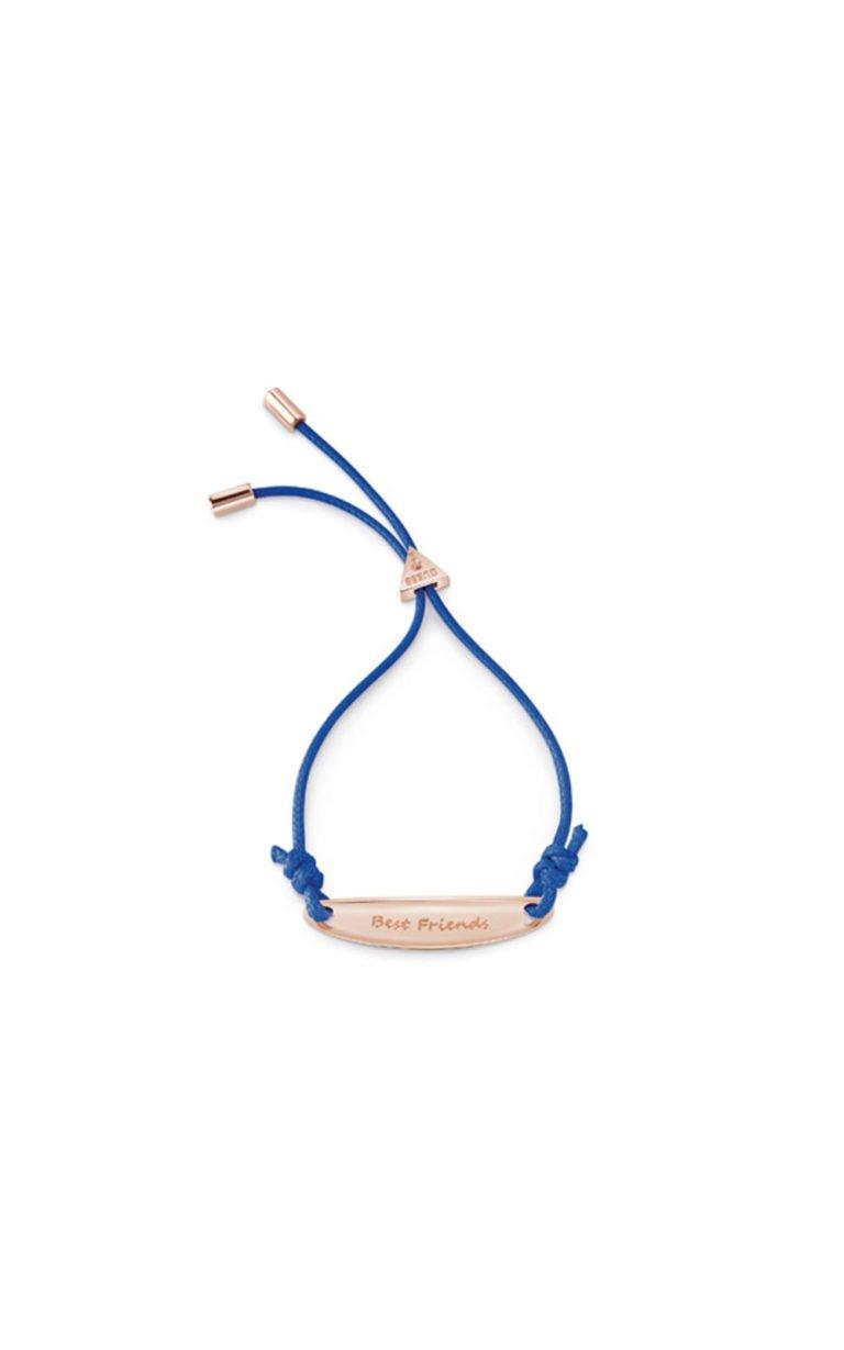 GUESS FAUX UBB85047-L Ροζ Χρυσό Βραχιόλι Με Μπλε Κορδόνι