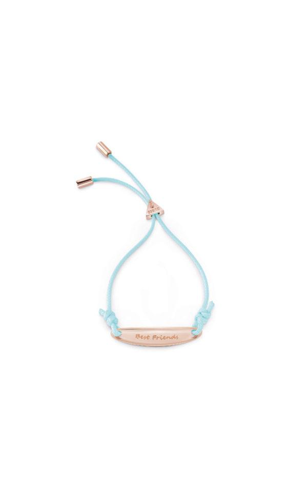 GUESS FAUX UBB85050-L Ροζ Χρυσό Βραχιόλι Με Γαλάζιο Κορδόνι