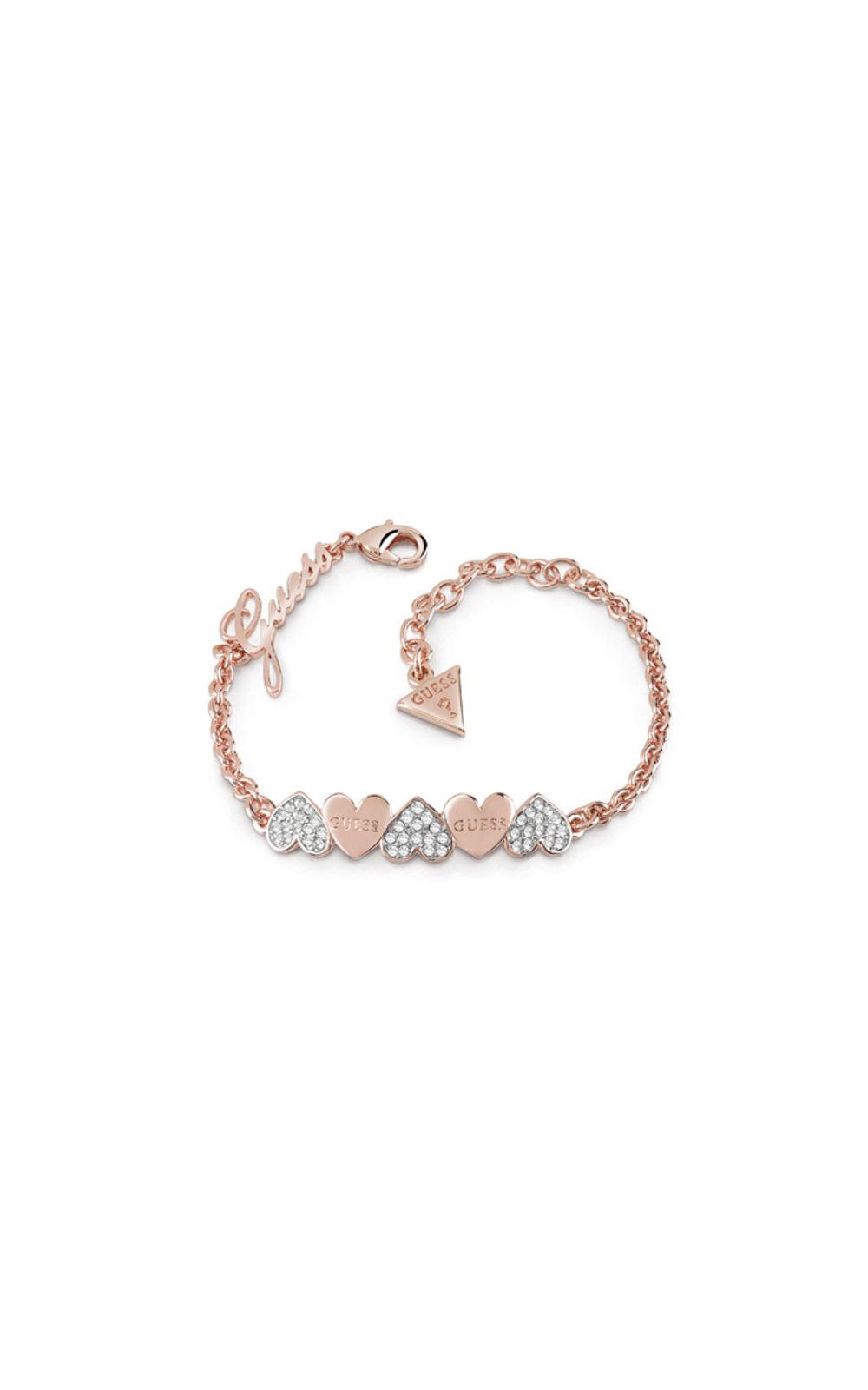 GUESS FAUX UBB85102-L Ροζ Χρυσό Βραχιόλι Με Καρδιές