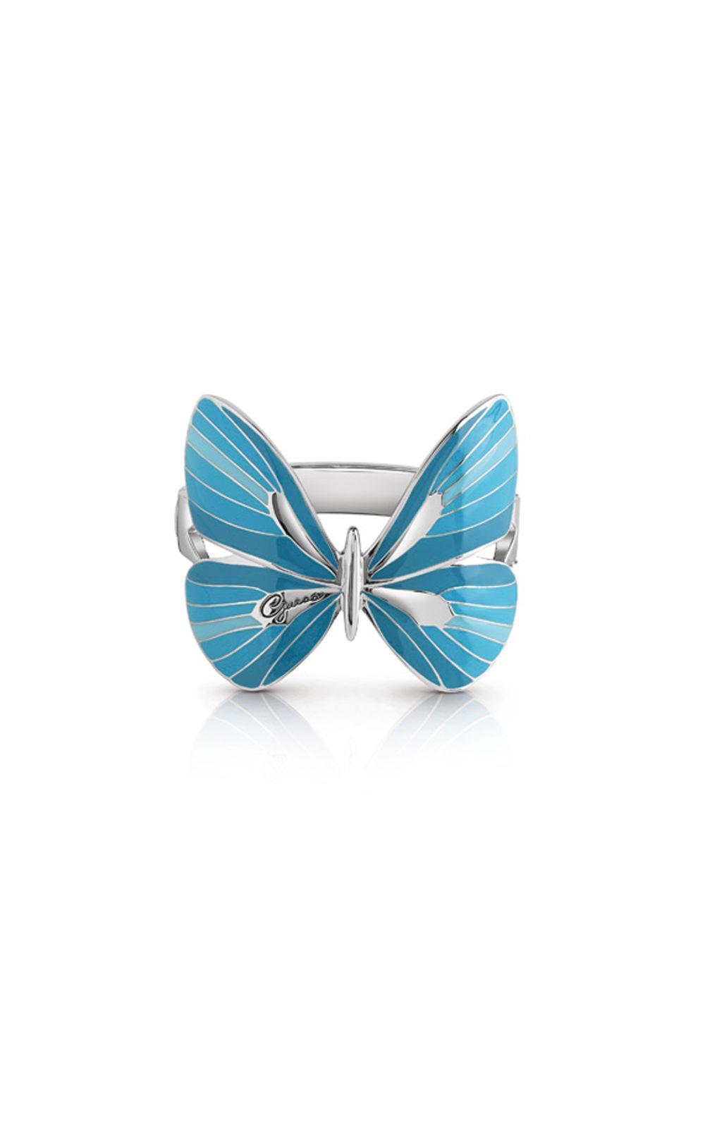 GUESS FAUX UBB85148 Ασημένιο Βραχιόλι Με Γαλάζια Πεταλούδα