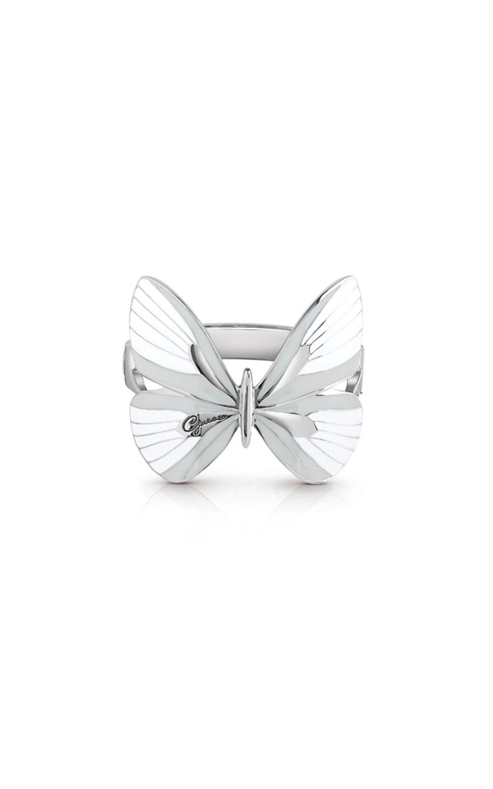 GUESS FAUX UBB85150 Ασημένιο Βραχιόλι Με Άσπρη Πεταλούδα