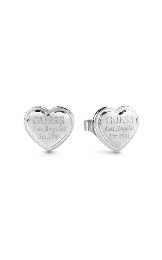 GUESS FAUX UBE28008 Ασημένια Σκουλαρίκια Καρδιές