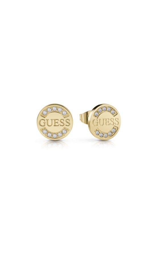 GUESS FAUX UBE28030 Χρυσά Σκουλαρίκια Στρογγυλά Με Λογότυπο
