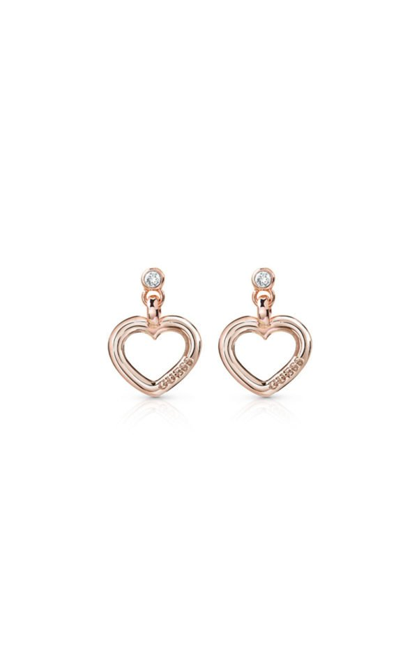 GUESS FAUX UBE84020 Ροζ Χρυσά Σκουλαρίκια Καρδιές