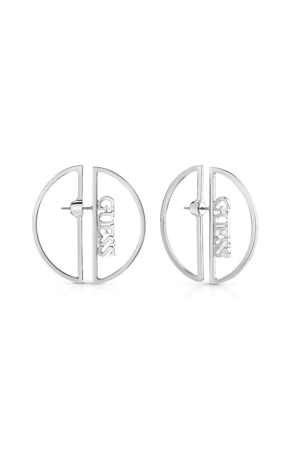 GUESS FAUX UBE84035 Ασημένια Σκουλαρίκια Με Λογότυπο