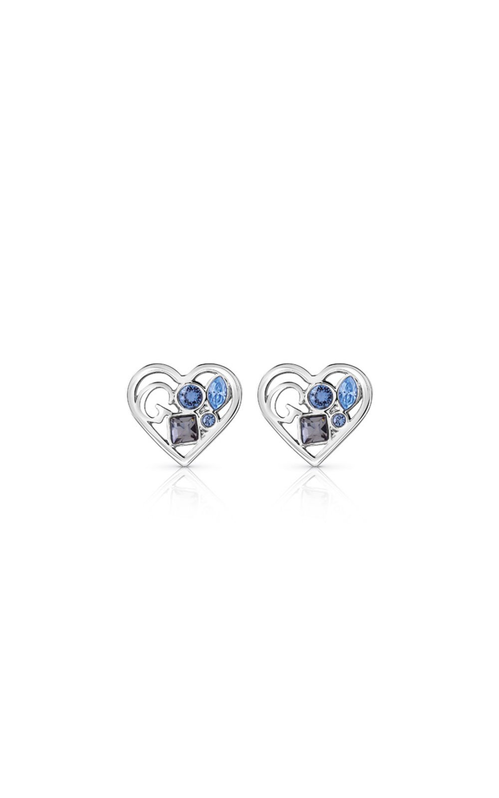 GUESS FAUX UBE84108 Ασημένια Σκουλαρίκια Καρδιές