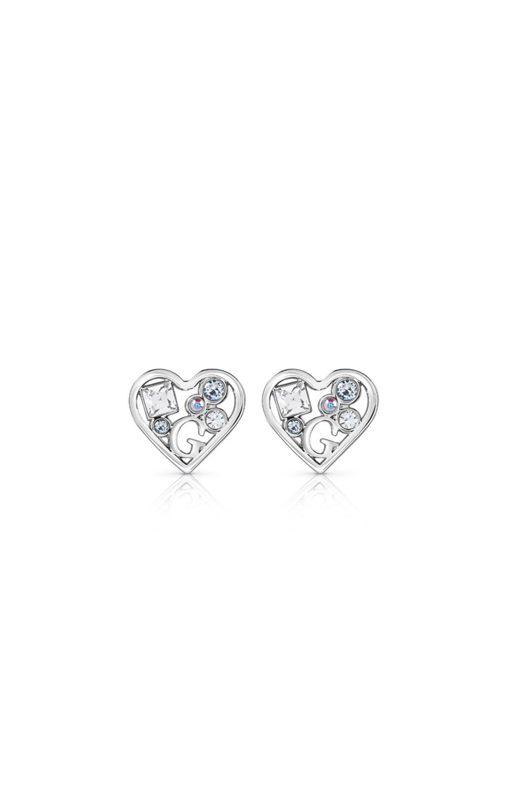 GUESS FAUX UBE84110 Ασημένια Σκουλαρίκια Καρδιές
