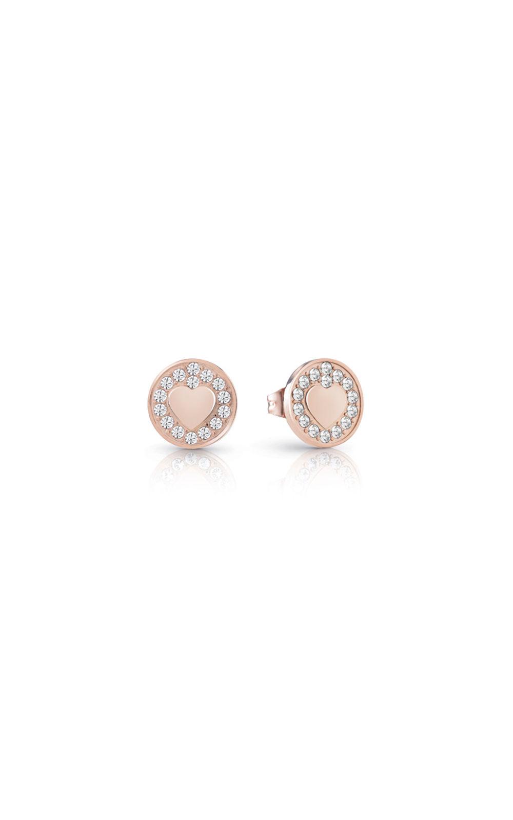 GUESS FAUX UBE85014 Ροζ Χρυσά Σκουλαρίκια Με Καρδιές