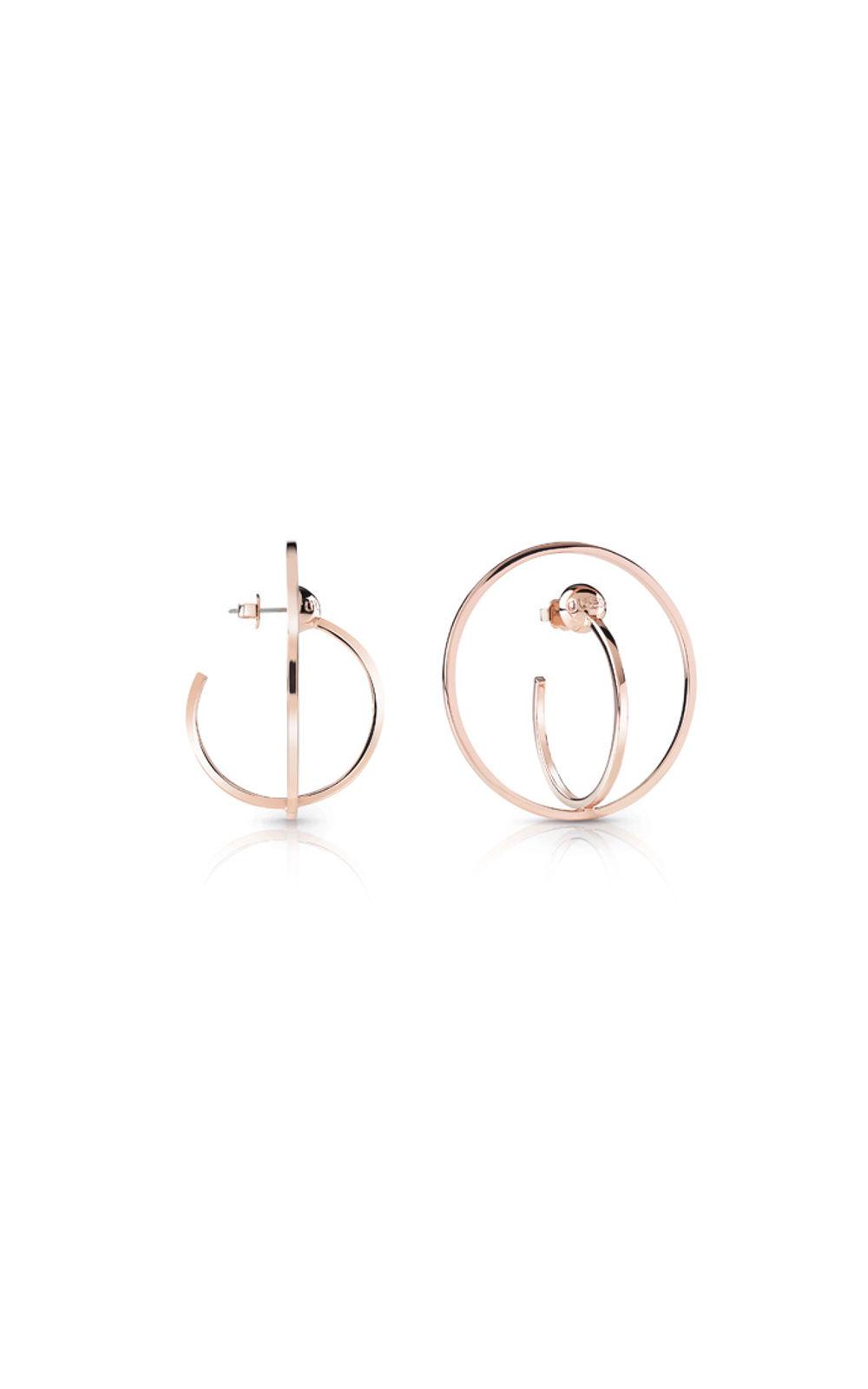 GUESS FAUX UBE85041 Ροζ Χρυσά Σκουλαρίκια Διπλοί Κρίκοι