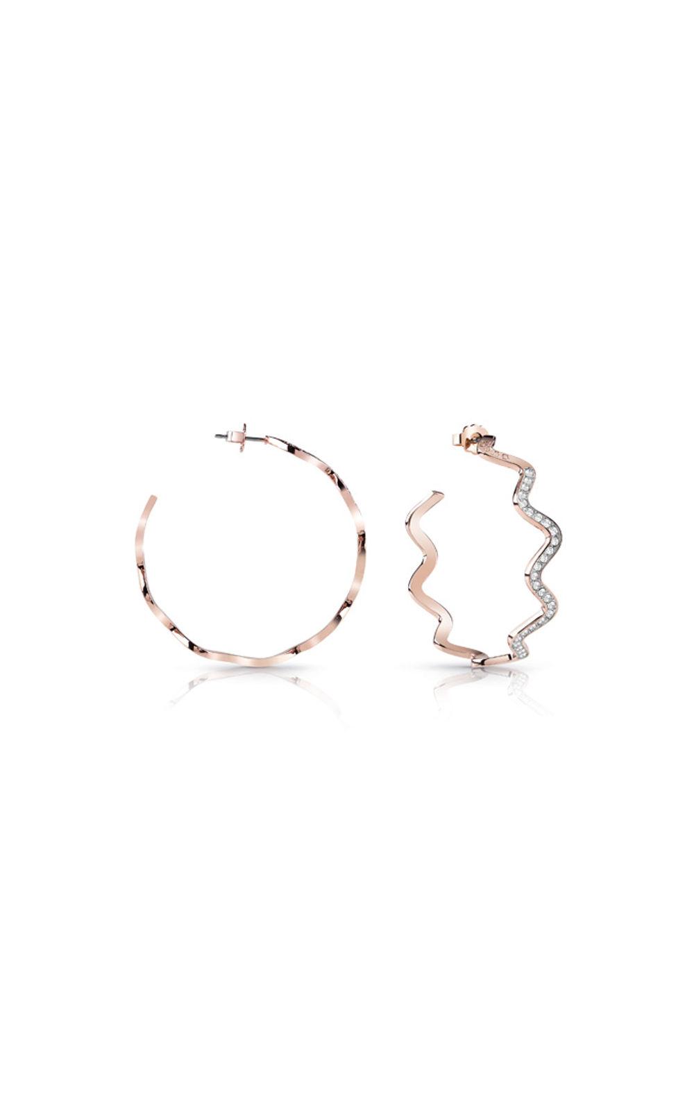 GUESS FAUX UBE85050 Ροζ Χρυσά Σκουλαρίκια Κυματιστά Με Πέτρες