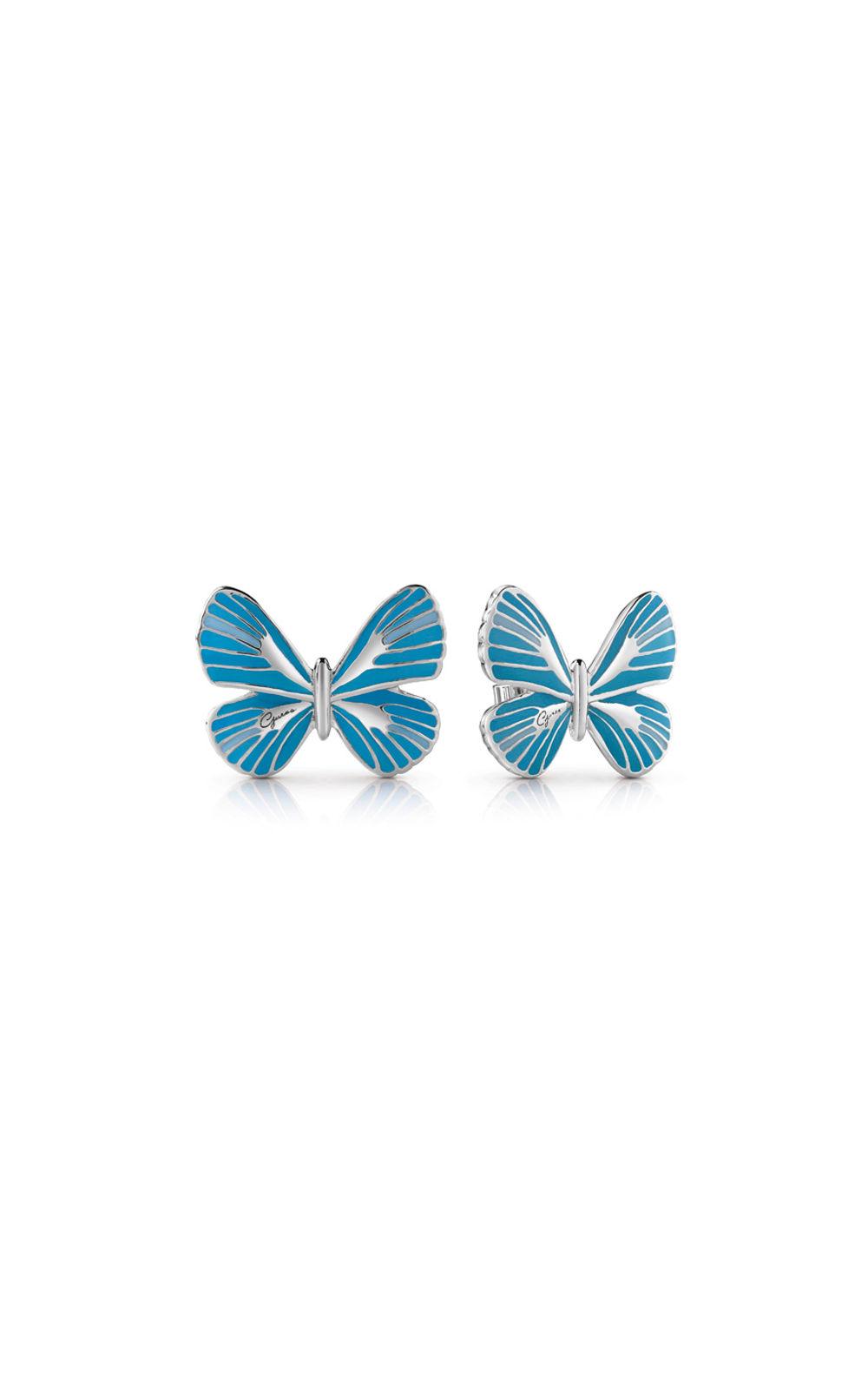 GUESS FAUX UBE85088 Ασημένια Σκουλαρίκια Με Μπλε Πεταλούδα