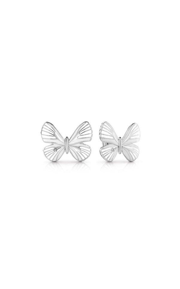 GUESS FAUX UBE85090 Ασημένια Σκουλαρίκια Με Άσπρη Πεταλούδα d71aa04675f