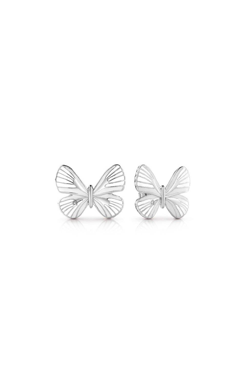 GUESS FAUX UBE85090 Ασημένια Σκουλαρίκια Με Άσπρη Πεταλούδα