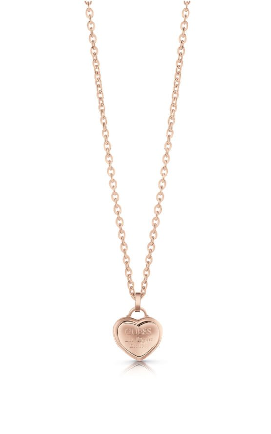 GUESS FAUX UBN28013 Ροζ Χρυσό Κολιέ Με Καρδιά
