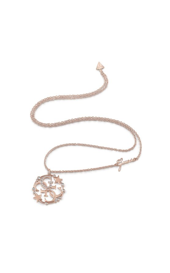 GUESS FAUX UBN28020 Ροζ Χρυσό Κολιέ Με Λογότυπο & Σχέδιο