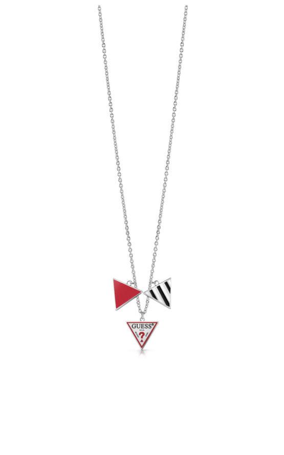 GUESS FAUX UBN29062 Ασημένιο Κολιέ Με Τρίγωνα
