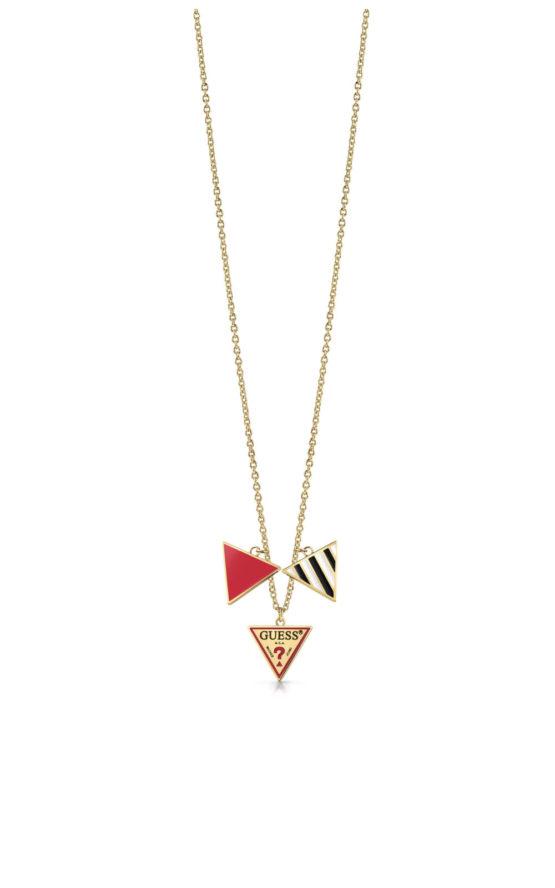 GUESS FAUX UBN29063 Χρυσό Κολιέ Με Τρίγωνα