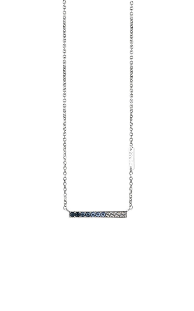 GUESS FAUX UBN83047 Ασημένιο Κολιέ Με Σχέδιο & Μπλε Πέτρες