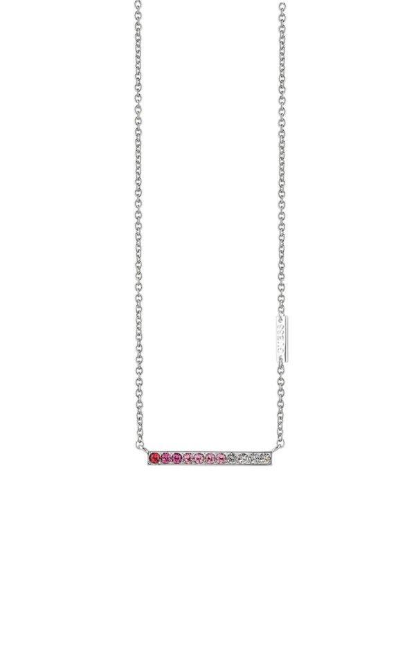 GUESS FAUX UBN83048 Ασημένιο Κολιέ Με Ροζ Πέτρες