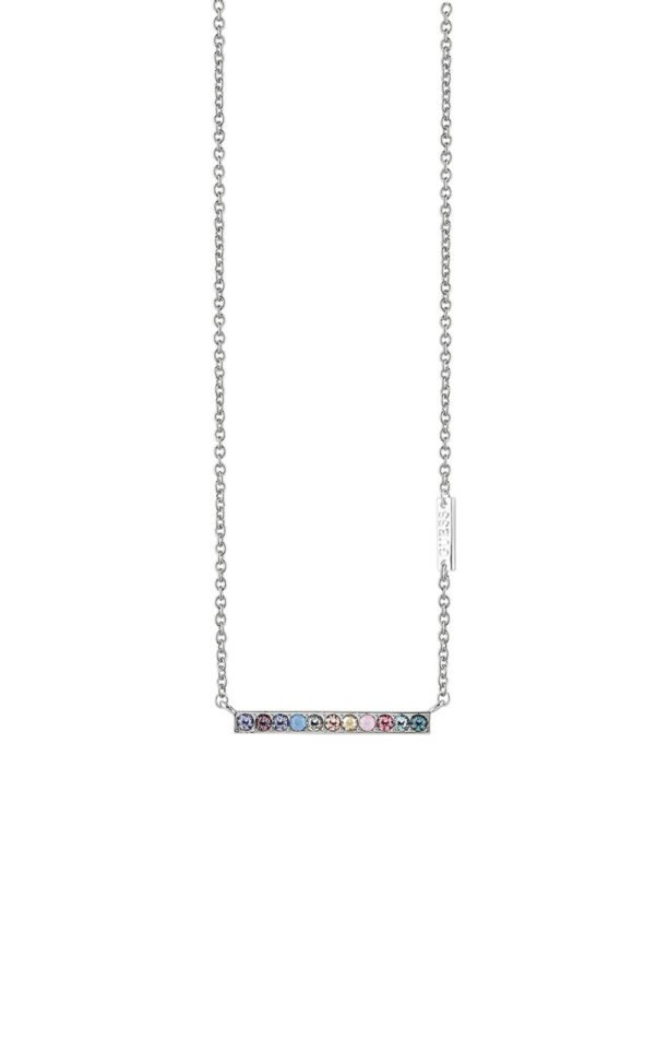 GUESS FAUX UBN83050 Ασημένιο Κολιέ Με Πολύχρωμες Πέτρες