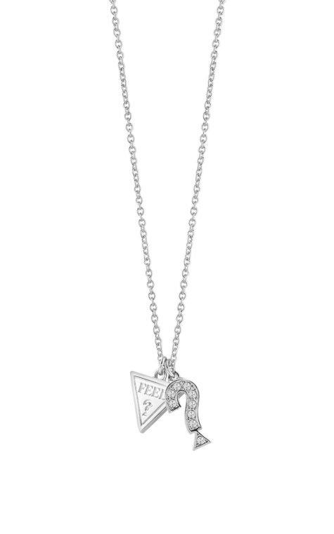 GUESS FAUX UBN83064 Ασημένιο Κολιέ Με Τρίγωνο & Ερωτηματικό