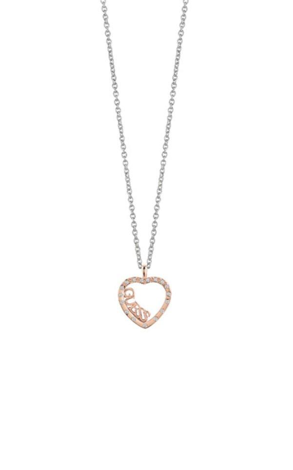 GUESS FAUX UBN83114 Ασημένιο Κολιέ Με Ροζ Χρυσή Καρδιά