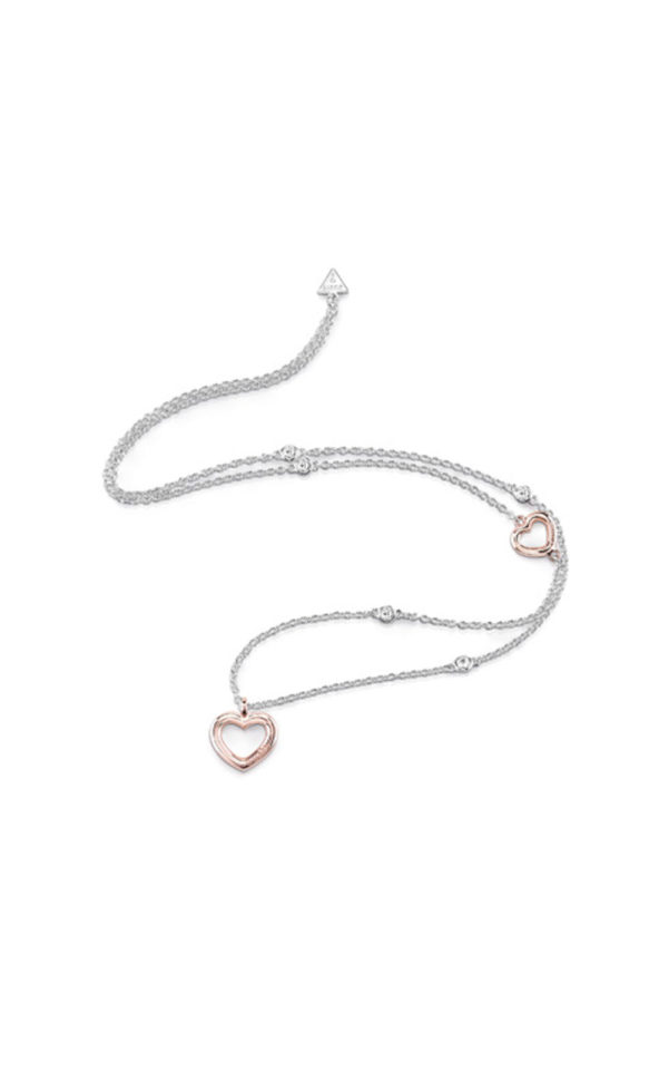 GUESS FAUX UBN84025 Ασημένιο Κολιέ Με Ροζ Χρυσές Καρδιές