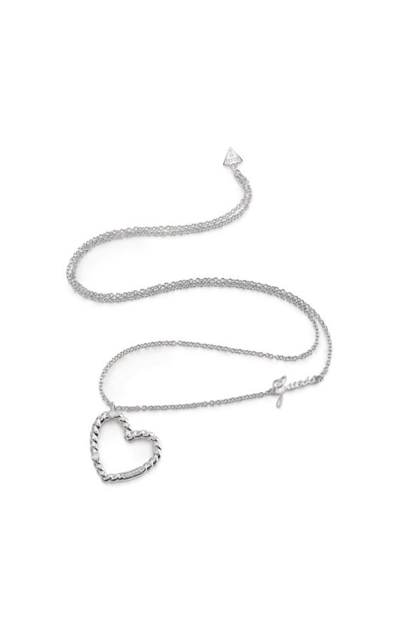 GUESS FAUX UBN85041 Ασημένιο Κολιέ Με Καρδιά