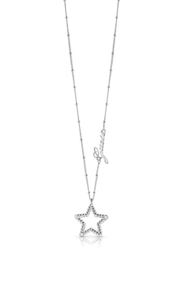 GUESS FAUX UBN85043 Ασημένιο Κολιέ Με Αστέρι & Λογότυπο